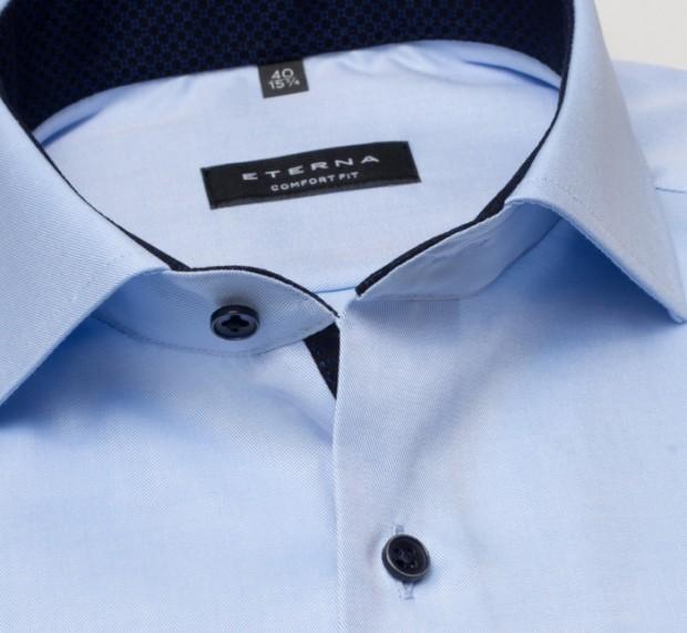 eterna vasalásmentes férfi ing világoskék cover shirt - gallér