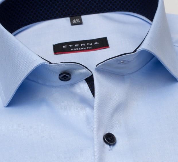 eterna vasalásmentes karcsúsított férfi ing világoskék (cover shirt) - gallér