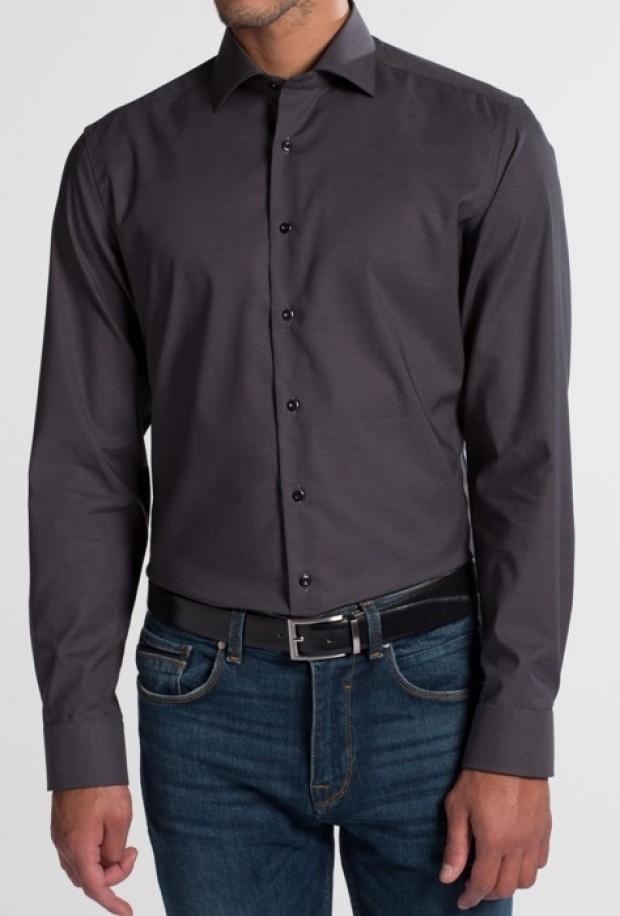 eterna vasalásmentes duplán karcsúsított férfi ing sötétszürke - modell
