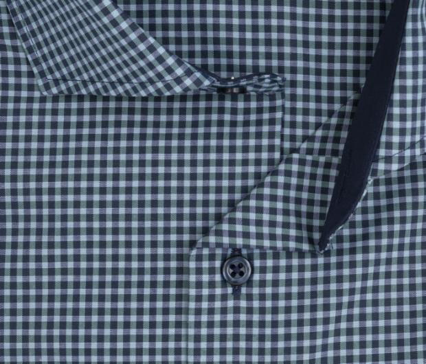eterna vasalásmentes karcsúsított férfi ing khaki-sötétkék kockás - gallér