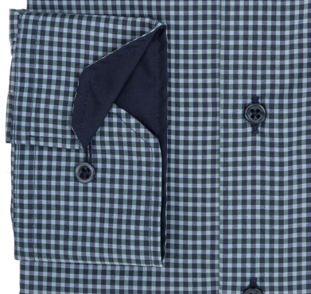 eterna vasalásmentes karcsúsított férfi ing khaki-sötétkék kockás - mandzsetta