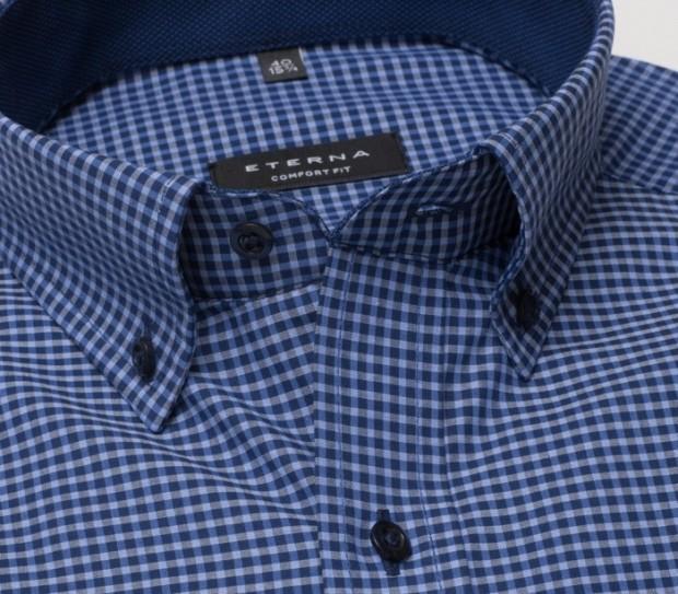 eterna vasalásmentes férfi ing kék-sötétkék kockás - gallér