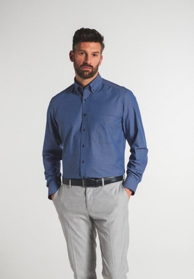 eterna vasalásmentes férfi ing kék-sötétkék kockás - modell
