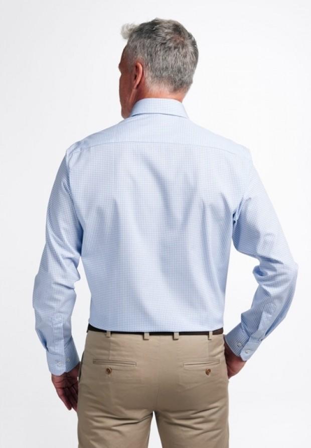 eterna vasalásmentes férfi ing világoskék-fehér kockás - hát