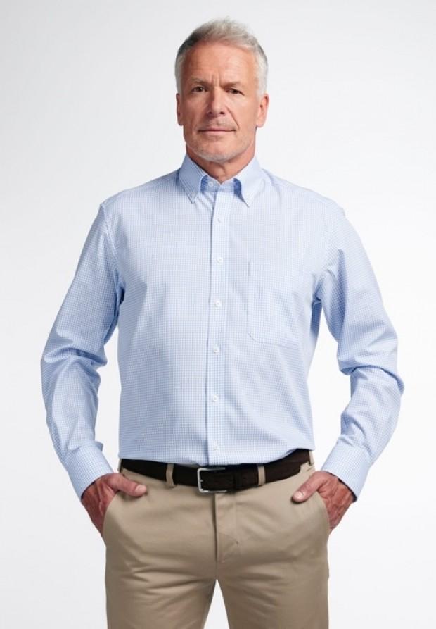 eterna vasalásmentes férfi ing világoskék-fehér kockás - modell