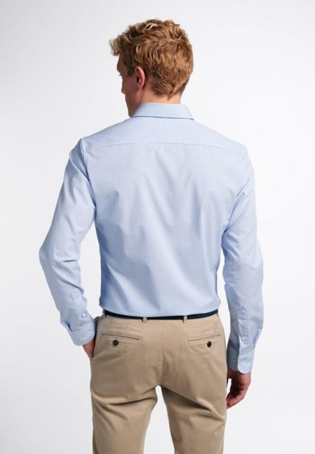eterna vasalásmentes duplán karcsúsított férfi ing világoskék-fehér kockás - hát