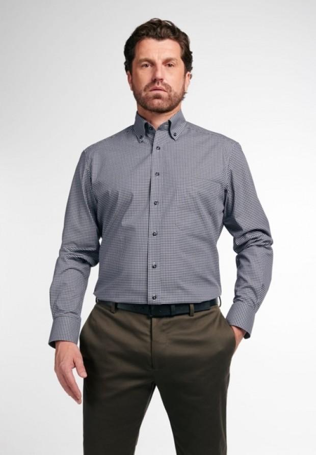 eterna vasalásmentes férfi ing szürke-fekete kockás - modell