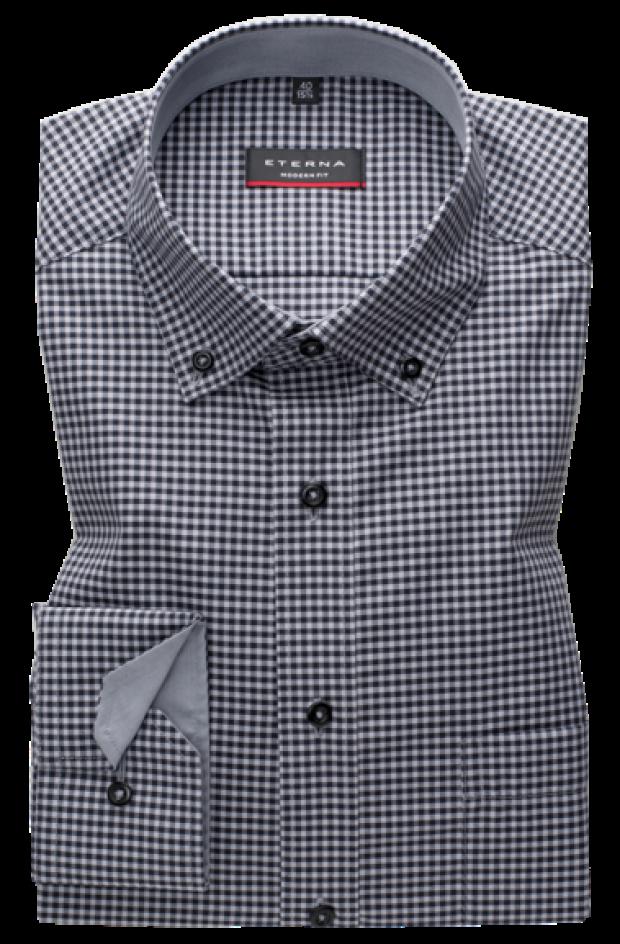 eterna vasalásmentes karcsúsított férfi ing szürke-fekete kockás