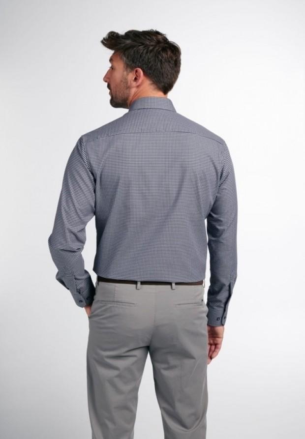 eterna vasalásmentes karcsúsított férfi ing szürke-fekete kockás - hát