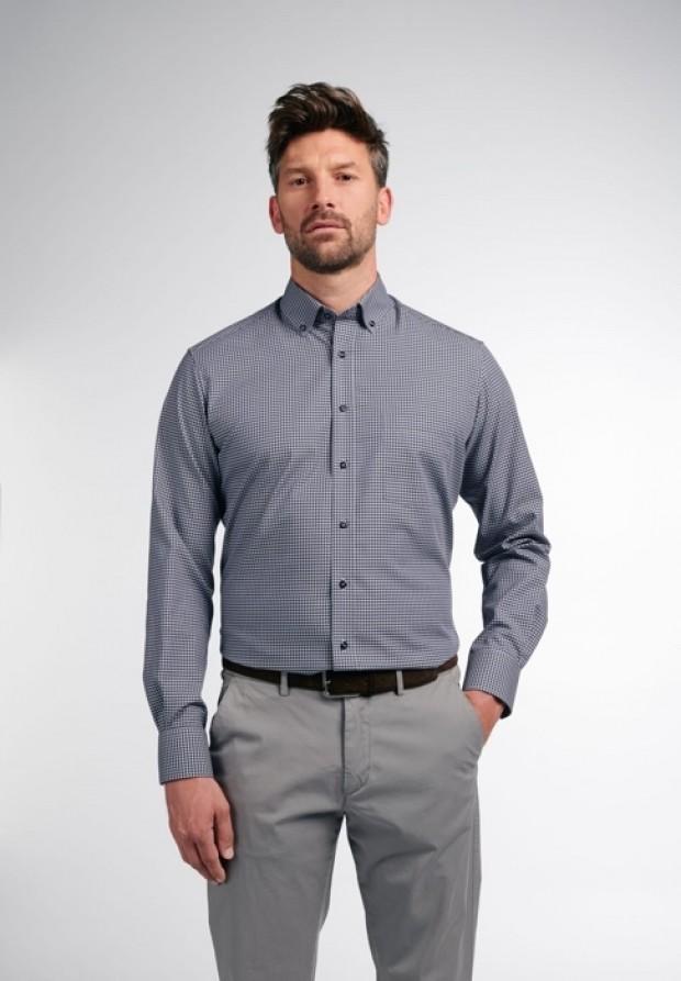 eterna vasalásmentes karcsúsított férfi ing szürke-fekete kockás - modell