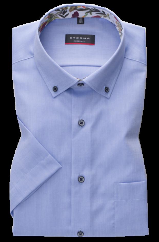 eterna vasalásmentes karcsúsított férfi ing rövid ujjú kék