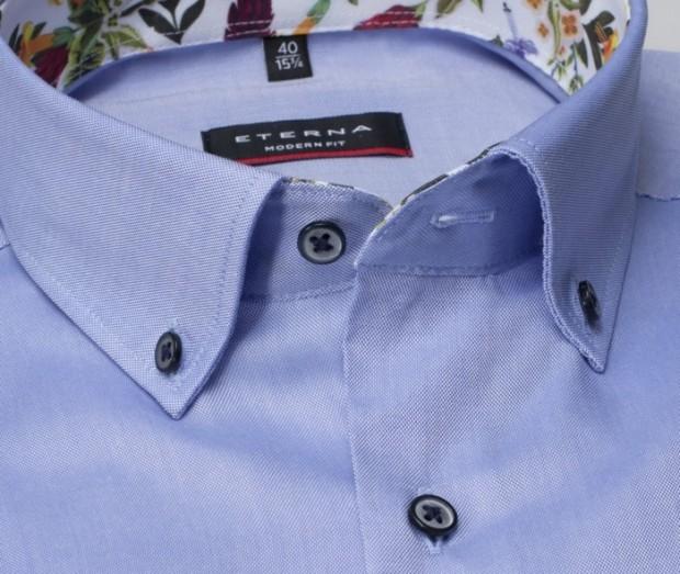 eterna vasalásmentes karcsúsított férfi ing rövid ujjú kék - gallér