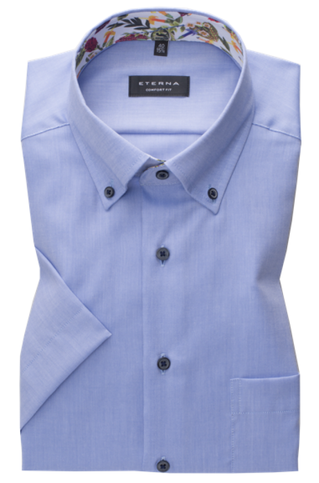 eterna vasalásmentes férfi ing rövid ujjú kék