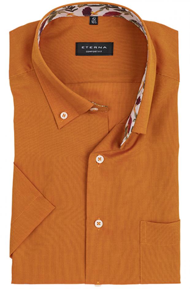 eterna vasalásmentes férfi ing rövid ujjú narancs-terrakotta