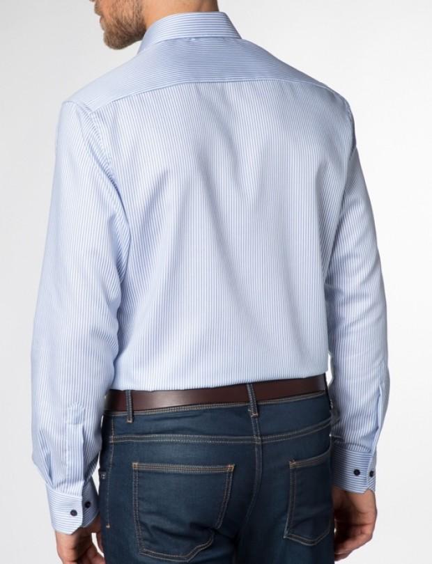 eterna vasalásmentes karcsúsított férfi ing kék csíkos - hát