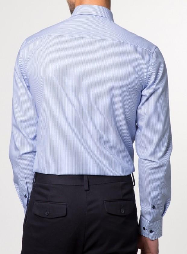 eterna vasalásmentes duplán karcsúsított férfi ing kék csíkos - modell hát