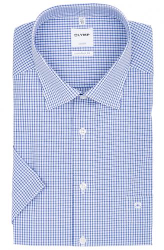OLYMP vasalásmentes férfi ing kék kockás rövid ujjú