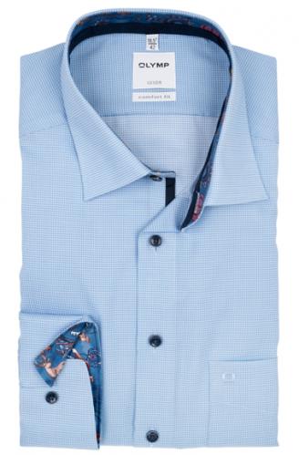 OLYMP vasalásmentes férfi ing kék apró mintás