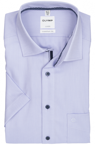 OLYMP vasalásmentes férfi ing lila anyagában mintás rövid ujjú