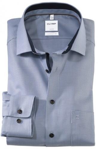 OLYMP vasalásmentes férfi ing világoskék-barna mintás