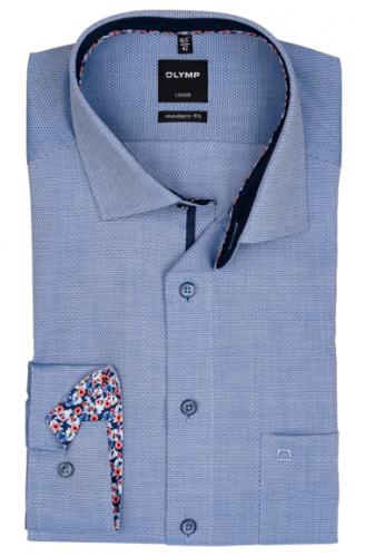 OLYMP vasalásmentes férfi ing karcsúsított kék anyagában mintás