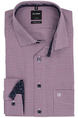 OLYMP vasalásmentes férfi ing karcsúsított bordó tyúklábmintás