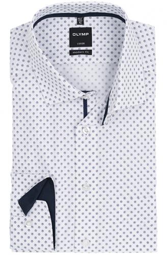OLYMP vasalásmentes férfi ing karcsúsított bordó-sötétkék mintás
