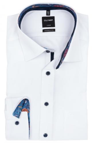 OLYMP vasalásmentes férfi ing karcsúsított fehér anyagában csíkos hosszított ujjú