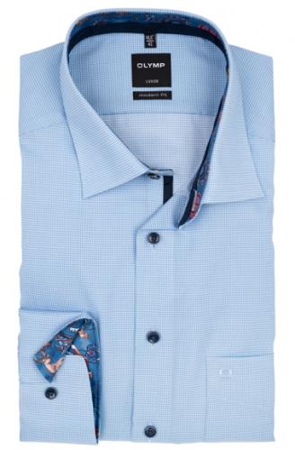 OLYMP vasalásmentes férfi ing karcsúsított kék apró mintás hosszított ujjú