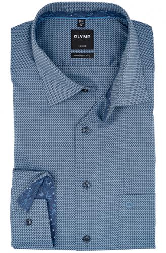 OLYMP vasalásmentes férfi ing karcsúsított szürkéskék mintás
