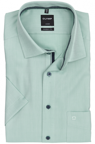 OLYMP vasalásmentes férfi ing karcsúsított zöld anyagában mintás rövid ujjú