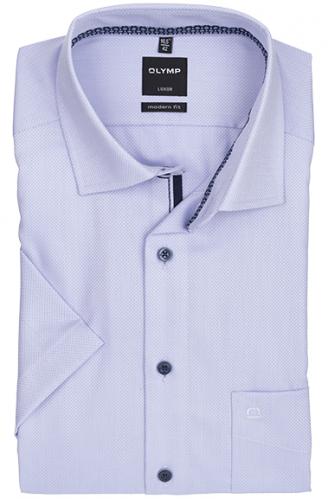OLYMP vasalásmentes férfi ing karcsúsított lila anyagában mintás rövid ujjú