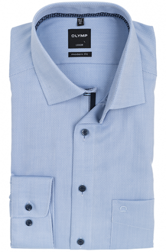 OLYMP vasalásmentes férfi ing karcsúsított világoskék anyagában mintás