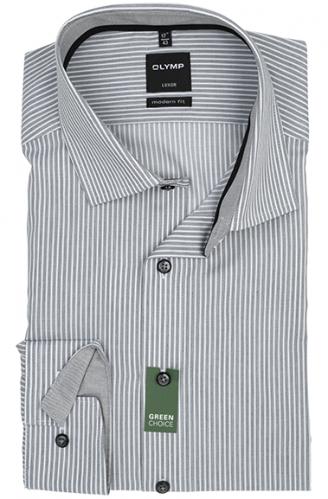 OLYMP vasalásmentes férfi ing karcsúsított rövidített ujjú - szürke csíkos