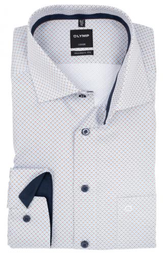 OLYMP vasalásmentes férfi ing karcsúsított barna-világoskék mintás