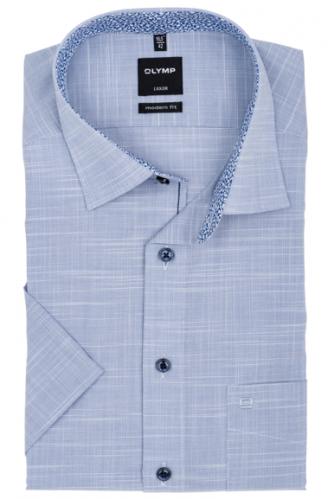 OLYMP vasalásmentes férfi ing karcsúsított kék anyagában mintás rövid ujjú