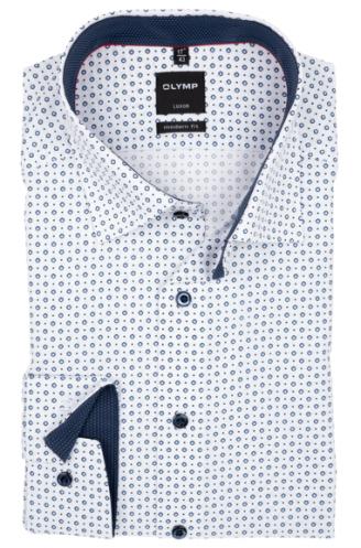 OLYMP vasalásmentes férfi ing karcsúsított fehér-kék mintás (fényes, kék gombok)