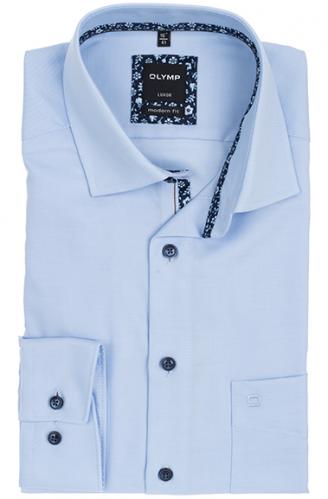 OLYMP vasalásmentes férfi ing karcsúsított hosszított ujjú világoskék átlós csíkos