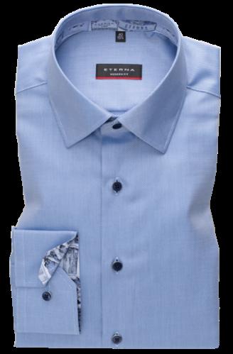 eterna vasalásmentes karcsúsított férfi ing kék anyagában csíkos