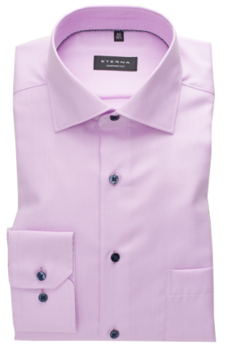 eterna vasalásmentes férfi ing lilás rózsaszín anyagában csíkos