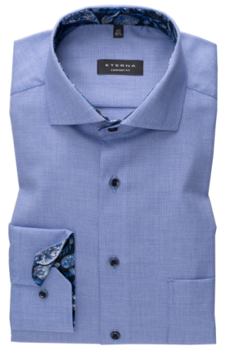 eterna vasalásmentes férfi ing kék anyagában mintás