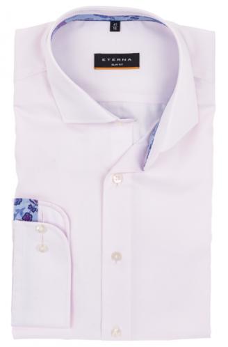 eterna vasalásmentes karcsúsított férfi ing lilás rózsaszín anyagában csíkos