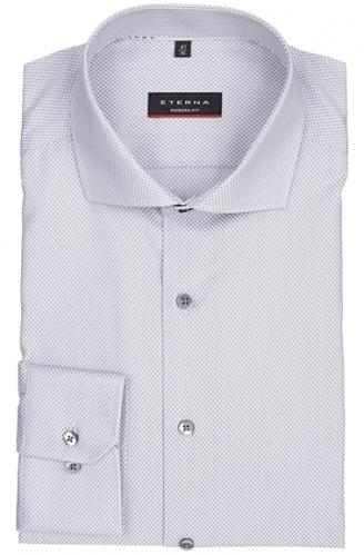eterna vasalásmentes karcsúsított férfi ing szürke-fehér mintás