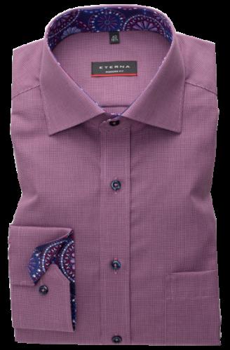 eterna vasalásmentes karcsúsított férfi ing bordós lila mintás