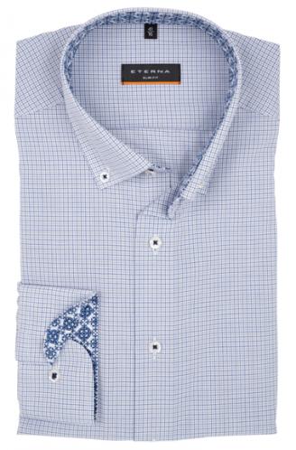 eterna vasalásmentes karcsúsított férfi ing kék-szürke kockás