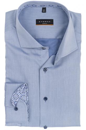 eterna vasalásmentes karcsúsított férfi ing acélkék (sötétkék gombok, lotus shirt)