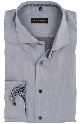eterna vasalásmentes karcsúsított férfi ing világosszürke (fekete gombok, lotus shirt)