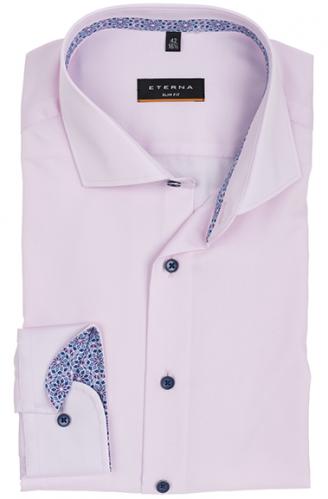 eterna vasalásmentes karcsúsított férfi ing rózsaszín (sötétkék gombok, lotus shirt)