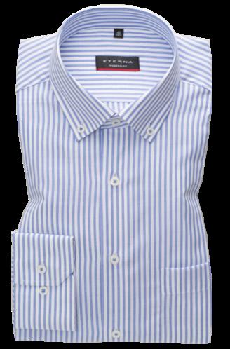 eterna vasalásmentes karcsúsított férfi ing kék-fehér csíkos