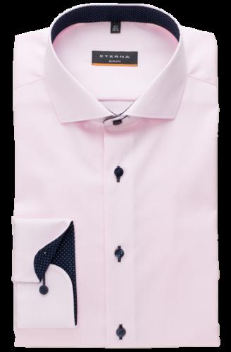 eterna vasalásmentes duplán karcsúsított férfi ing rózsaszín